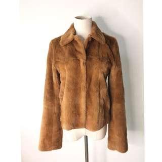 真品 只穿一次 韓國制Theory fluffy jacket 高級優雅毛毛配真皮外套
