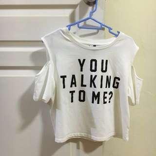 you talking to me? cold shoulder top 💚