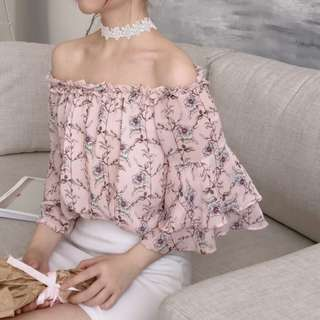 PO Floral Soph Off Shoulder Top
