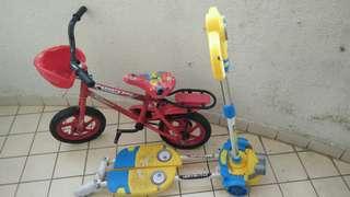 Basikal Budak & scooter minion