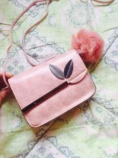 Baby Pink Sling Bag w/ Fur