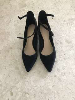 Charles & Keith Black Velvet High Heel Shoes