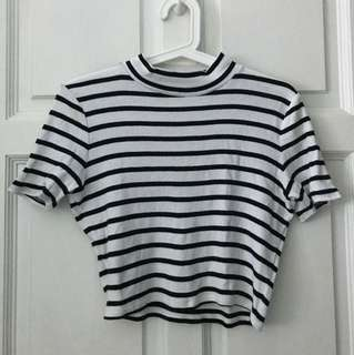 Abercrombie & Fitch Stripped High-neck Cropped Top