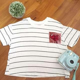 Stripe Crop Top w/ Sequined Heart