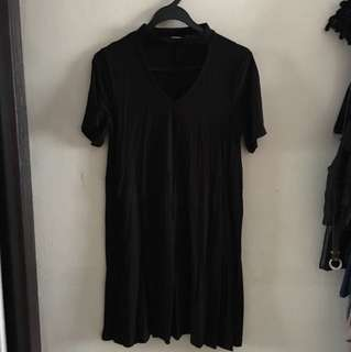 Choker neck black dress