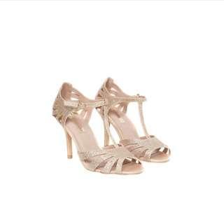 Dorothy Perkins Gold T-Bar heels