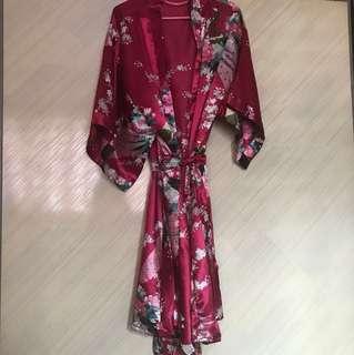 Kimono Wrap Silk Robe Dress
