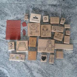25 pcs wooden rubber stamp