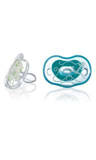 Born Free Bliss 0-6M Orthodontic Shape Pacifier, 2-Pack (Blue & Green)