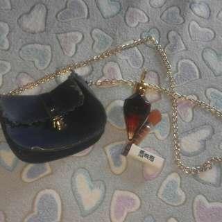 Blue Shoulder Bag with Gold Chain