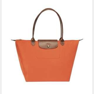 LONGCHAMP Le Pliage 全新帆布橙色手提包可對摺