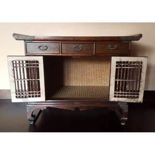QYOP 2 x Korean Wood Cabinet with 3 Drawers