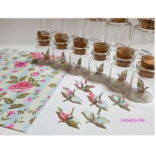 #CIB12m. Lot of 12pcs Floral Design 1-inch Hand-folded Paper Crane In A Mini Glass Bottle With Cork. (JD paper series).