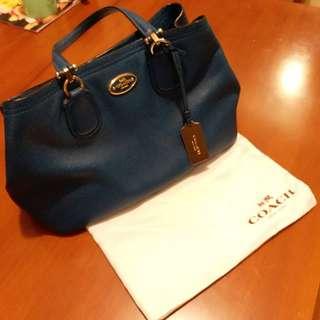 Coach藍色皮袋  Blue Feather Bag