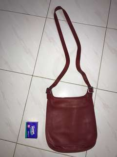 Coach crossbody red leather bag