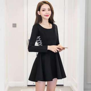 PO : Sizes Available From S To XL. Super Sweet And Classy Korean Style Side Lace Up Design Long Sleeves Skater/Flare/A Line Little Black Dress