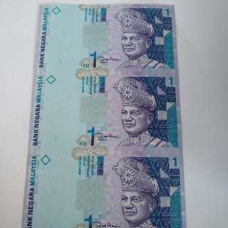 Malaysia uncut banknote RM1