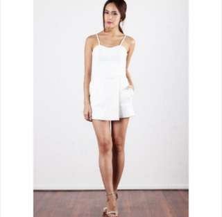 *SALE* BNWT OHVOLA Double Take Overlap Playsuit In White (L)