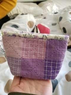 手工 紫色 拼布 厚底 散紙包