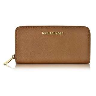 [全新保証正品] Michael Kors MK Jet Set Travel Saffiano Leather Continental Wallet #Dk Khaki Brown 真皮電話長銀包 錢包 手袋 名牌 女裝 女朋友生日禮物