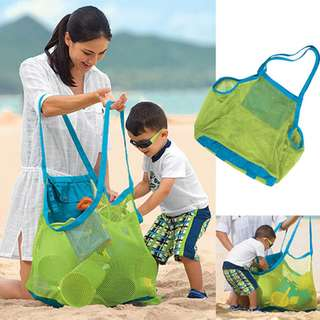 Outdoor Mesh Sand Away Beach Bag Dry Drain Water Dredging Pouch Children Kids Toys Large Storage