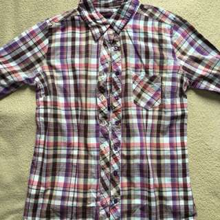 Purple Flannel Botton Down Shirt