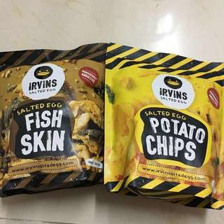 Irvins salted egg potato chips & fish skin 各105g