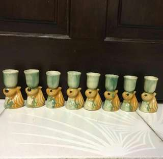 Set of 8 porcelain teacups