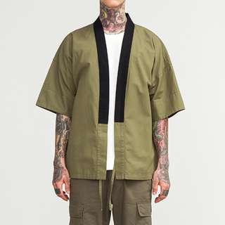 //Kimono Solid Collar Outerwear