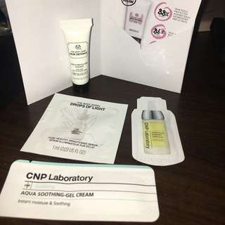 The Body shop and CNP laboratory sample pack