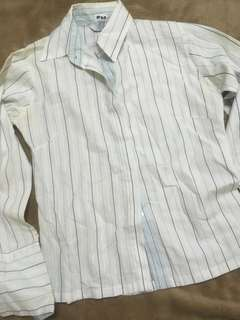 White Polo Blouse with Vertical Stripes