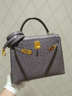 Hermes kelly 28 gris ostrich