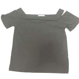Shoulder Cut Black Top