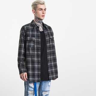 //Longline Plaid Zipper Shirt