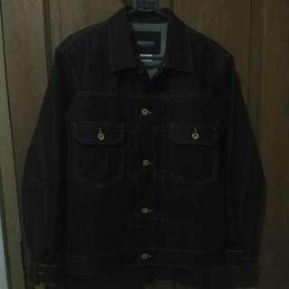 SIXTEEN DENIM SCALE Jaket Jeans Raw / Denim Jacket Type II Trucker Vintage Heavyweight 16oz warna Biru Tua Navy/Deep Indigo size L (Large)