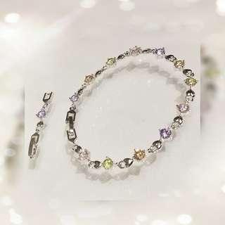 18K 鍍白金屬鑲嵌 奧地利彩色水晶手鍊一條 QB-2 售價HKD368