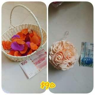 花籃2個+花瓣+花女花球