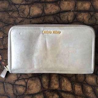 Miumiu metallic gold long wallet