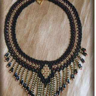 Czech Beaded Collar Fringe Necklace(PRE-ORDER)