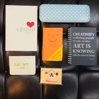 Stationery set (2 notebooks, 1 diary, 1 pencil case, 1 card holder, 1 notepad)