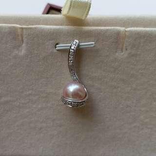14k白金粉紅珍珠鑽石吊咀、不連鍊