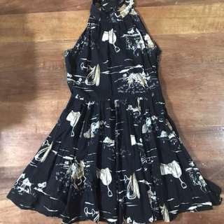Zara black dress with Polo prints (halter)