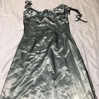 Ashleigh Morgan silver and black evening dress with lace detail