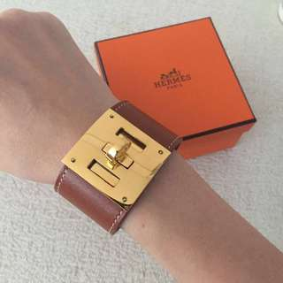 AUTHENTIC HERMES Brown Kelly Dog Leather Bracelet