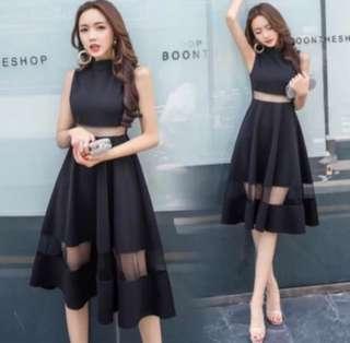 Evening Midi Black Dress M