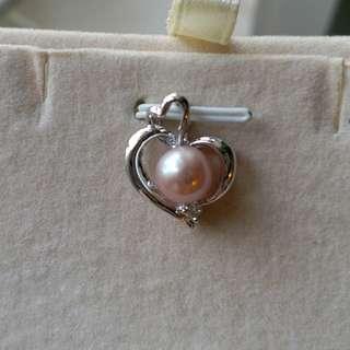14k白金粉紅珍珠單頭鑽石吊咀, 不連鍊