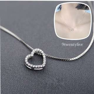 NKLL-013 - S925 Silver Simply Love Heart Crystal Necklace