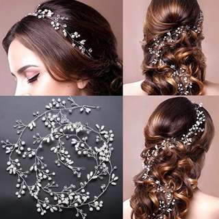 Luxury crystal pearl wedding headpiece