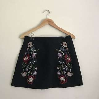 Floral Embroidered Suede Skirt