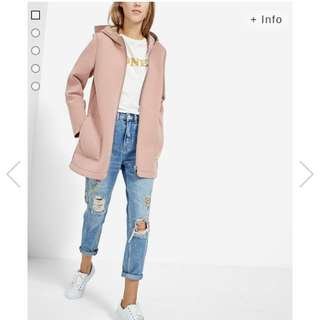 Stradivarius Pastel Pink Hooded Coat